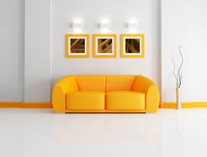 Bright orange and white living room